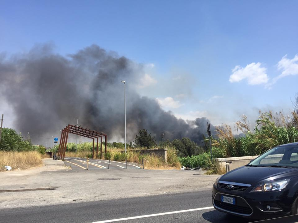 Roma, incendio all'Eur: colonna di fumo nero e traffico in tilt