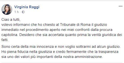 Roma, Raggi chiede giudizio immediato. La sindaca:
